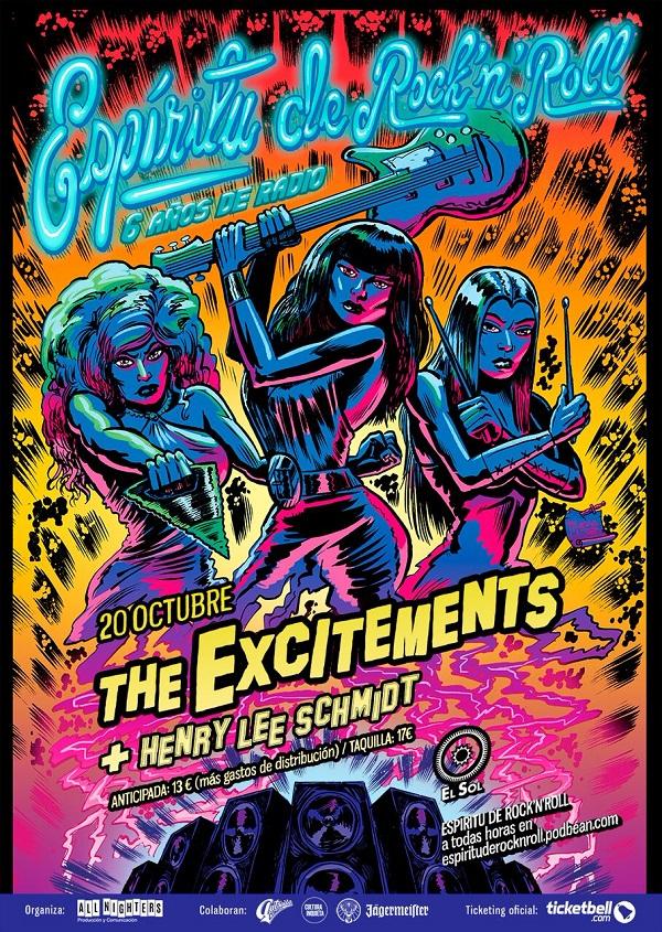 Cartel de The Excitements para Ciclo Espíritu de Rock 'n Roll