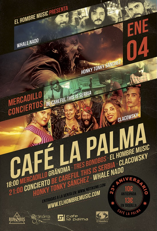 Cartel 23º aniversario del Café La Palma