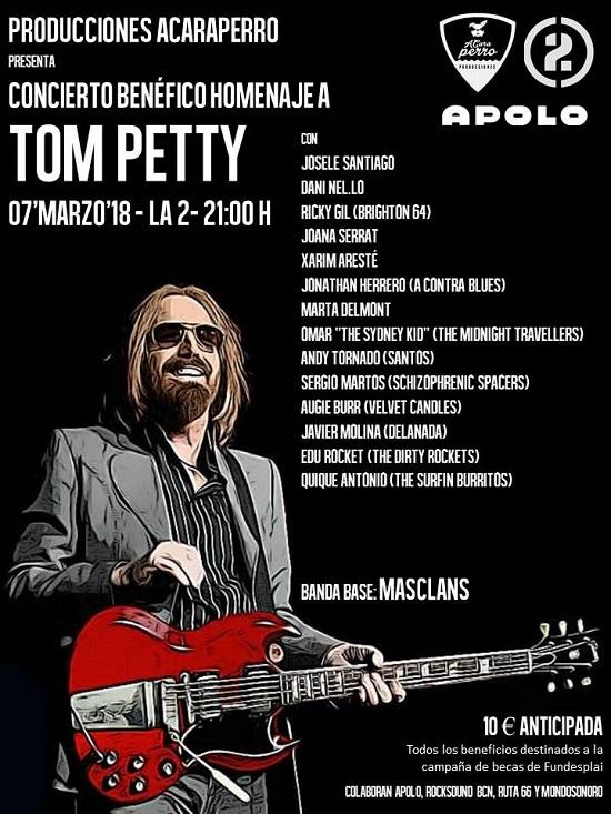 Cartel del homenaje a Tom Petty en Barcelona