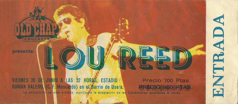 Lou Reed 1980 tiquet